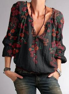 Shirts & Tops, Casual Shirts, Casual Tops For Women, Blouses For Women, V Neck Blouse, Look Chic, Types Of Sleeves, Black Cotton, Long Sleeve Tops