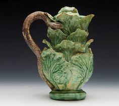 green - - Scarce Antique Palissy Ware Majolica Cabbage Leaf Snake Handled Ewer C. Antique Pottery, Pottery Art, Cabbage Leaves, Hand Art, Glazes For Pottery, Porcelain Ceramics, Earthenware, Art Decor, Tea Pots
