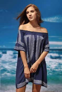 Chic Navy Blue Bohemian Vibe Geometric Print Off The Shoulder Beach Dress
