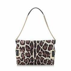 Jimmy Choo Ally quartz leopard print pony shoulder bag.
