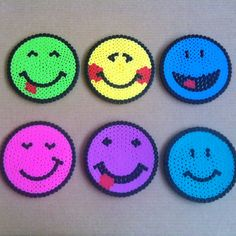 Smiley coasters hama beads by Cristina Merino - MerinosCrafts
