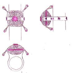 High jewelry ring design. Pink diamond and colorless diamond.