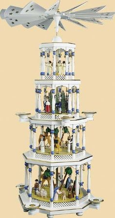 Nativity- Who had one of these growing up? I remember just staring at this thing,. Outdoor Nativity Scene, Nativity Sets, Christmas Nativity Scene, Woodland Christmas, All Things Christmas, Christmas Holidays, Christmas Decorations, German Christmas Pyramid, Christmas In Germany