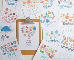 NEW CLIPBOARD 2016 5x7 Mini Calendar Illustrated por penandpaint