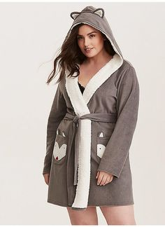 fb87c083f7c4f TORRID   Sleep Fox Fleece Robe Plus Size Sleepwear