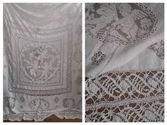 Antique Linen Tablecloth Natural Cherubs | Antique French Cherub Angels Hand Embroidered Lace