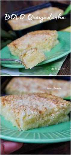 Bolo Queijadinha, bolo de queijo com coco, molhadinho, doce e salgado ao mesmo tempo. Receita rapidinha de liquidificador, junta tudo bate e está pronto!