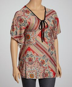 Red & Gray Paisley Dolman Tunic - Plus #zulily #zulilyfinds
