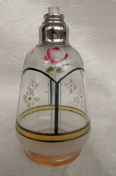 flacon de parfum ancien, peinture émaillée fleurs, bouchon verre, BRL