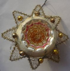 ! ANTIQUE CHRISTMAS ORNAMENT Austria BEADED WIRE MERCURY INDENT STAR