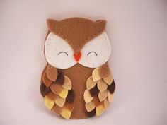 Felt owl ornament - Owl ornament - Felt ornament - Shades of brown owl Christmas ornament - Personalized Owl - 2016 Owl ornament made of felt. He is fully hand stitched. • felt in white, orange and shades of brown • 4 x 3 (10.2 x 7.6 cm) (not including the ribbon loop) • stuffed with polyester fiberfill • no glue is used • each owl is 100% handmade (hand cut + hand sewed ) • items come from a smoke free home Instrucctions For Ordering - During Checkout: In the note to seller section at ch...