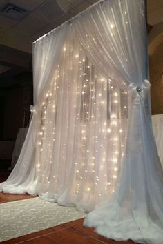 """30 LED strips with each stripe 20 LED light bulbs 20FT Wide & 10FT Height 1.5"""" diameter rod pockets for easy slide- in/slide-out of curtain rods Wedding ideas. backdrops."""