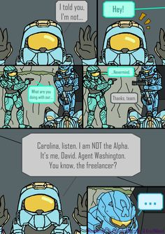 Meanwhile Pg. 9 by KradNibeid on DeviantArt Red Vs Blue Characters, Halo Drawings, Halo Funny, Comic Link, Halo Game, Make A Game, Rooster Teeth, Comics Universe, Avatar The Last Airbender