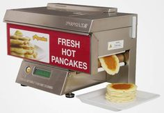 The POPCAKE, an automatic pancake machine. Simply mix the batter, load it, press start and within 90 seconds, you'll be drooling over a freshly cooked 3-stack. Available from popcake-na.com. I NEED one of these
