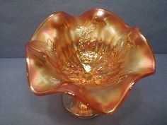 Fenton Holly Marigold Carnival Glass Compote.    Another view