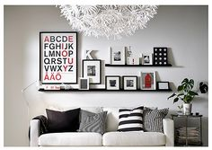 IKEA Ribba picture sledge for art display above sofa