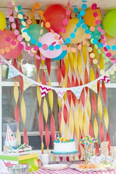 Birthday party decoration ... paper circle garland // wedding decorations…