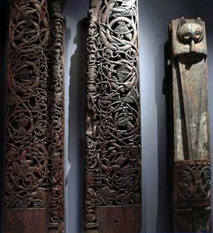 Two Pieces of door jambs in pine, Ulvik Church Hardanger, Norway. Medieval 700-1200 AD