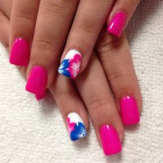 Nails. Manicure. Nail design. Pink with flowers. Acrylic nails