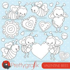 Valentine bee digital stamp commercial use by Prettygrafikdesign