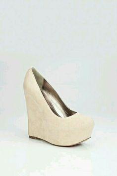 Creme high heel wedge