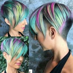 If you want your hair to look attractive, you should try the colorful hairstyle in a short time. You can also get help from jelly and hair sprays to shape your hair. Women with short hairstyles can easily use these models. Mens Hairstyles Pompadour, Pixie Hairstyles, Cool Hairstyles, Undercut Pompadour, Men Undercut, Medium Hairstyles, Wedding Hairstyles, Pelo Color Morado, Pelo Multicolor