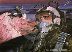 Original acrylic painting of a pilot in a fighting plane, looking at an eagle flying above the summits of the mountains.