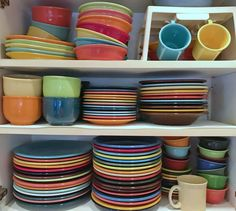 Everyday Fiestaware dishware, explaining colors and shapes. What's in your cupboard? Gravy Boats, Coffee Server, Fiesta Colors, Relish Trays, Color Shapes, Cupboard, Dinnerware, Cool Stuff, Fiestas