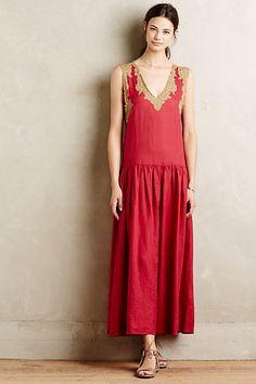 Gold Leaf Maxi Dress #anthropologie