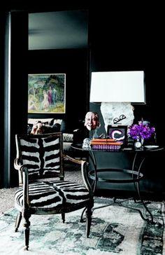 Zebra chair/ dark walls/ lovely carpet