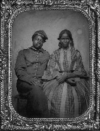 Soldier and companion Quarter-plate tintype. Circa 1861-1865