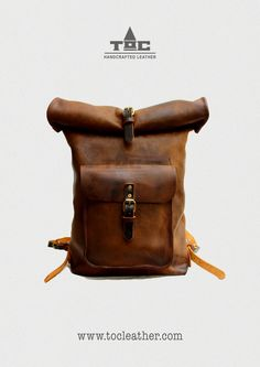 Tộc   Leather: Leather Roll Top Backpack / Rucksack (Light Brown) - Vintage Retro Looking