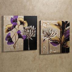 Garden Breeze Floral and Leaf Canvas Art Set