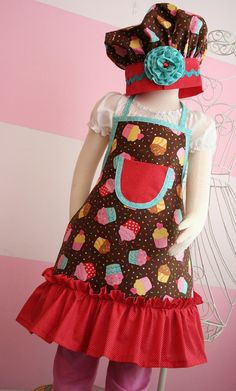 Kids Apron and Chef's Hat Little Girls Apron Set by KitchenGlam, $20.00