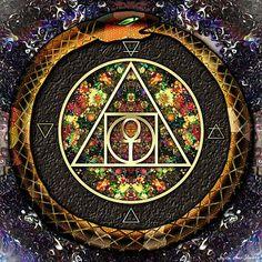 Alchemy Digital Art - The Sacred Alchemy Of Life by Iowan Stone-Flowers Sacred Geometry Symbols, Sacred Geometry Tattoo, Religious Symbols, Ancient Symbols, Celtic Druids, Alchemy Art, Snake Art, Earth Goddess, Flower Mandala