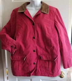 ad1f6100bf8c LL Bean Women s Size XL Khaki Barn Coat Field Jacket Corduroy Trim