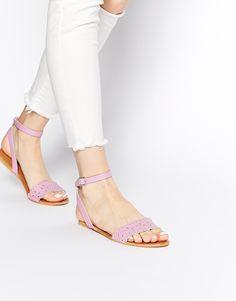 ASOS FELT Cut Out Two Part Leather Sandals