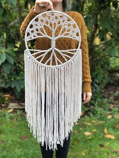 White Tree of Life Dream Catcher Woven with Cotton on Large 12 Inch Hoop / Macrame Wall Hanging / Bohemian Yoga Decor / Gift Macrame Wall Hanging Patterns, Macrame Art, Macrame Design, Macrame Projects, Macrame Knots, Macrame Patterns, Wiccan Decor, Spiritual Decor, Tree Of Life