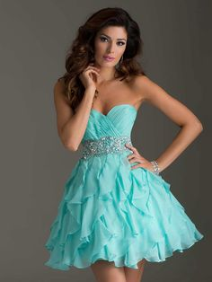 Newest 2014 Sexy Fashion Short Mini Organza Blue Beaded Above Mini Homecoming Dresses for Teens $105.69