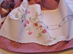 Recycled Vintage Pillowcase to Upcycled Tea Towel - Climbing Rose  - Homespun Home Decor