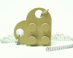 Tantalizing Tan Heart Necklace made from Lego Heart by MoLGifts