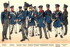 - Artillery on foot - Prussian Militia Eastern - West Prussian Militia - Artillery Officer - Silesian Militia - Pomeranian Militia - East Prussian Militia Officer - Cavalry militia - Brand Militia (Horn) - Lützow Hunter Battle Of Waterloo, Waterloo 1815, Military Art, Military History, Empire, Army Uniform, Uniform Dress, Military Uniforms, Black Eagle