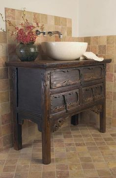 washstand made into bathroom vanity | AnAsian antique dresser that has been turned into a vanity.