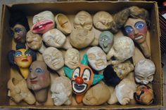 Very Creepy! The stuff nightmares are made from. Could be great Halloween decorations. Looks like what you see when you walk into a voodoo store in New orleans! This is a great collection of antique puppet heads found at an estate sale.