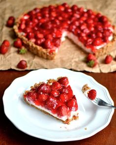 Strawberry Pretzel Tart | This is that dessert. I just made it in a tart pan to make it seem a little more fancy or something. Also I made the Jello part less Jello-y by using the recipe for this Jello pie. That's my Grandma's little trick. | From: yammiesnoshery.com