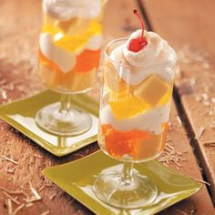 Gelatin Parfaits Recipe -Here's a quick, airy dessert so versatile, you can whip it up for almost any season or holiday-just by varying the colors of gelatin you use. We filled this seasonal parfait with all the colors of the falling leaves. Pretty presentation for an autumn party! —Joyce Thompson, Bellingham, Washington