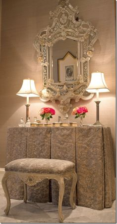 French Design Dressing Table & Mirror From: Cote De Texas, please visit Beautiful Mirrors, Beautiful Bedrooms, Beautiful Homes, Dressing Table Vanity, Dressing Tables, Vanity Tables, Dressing Rooms, Makeup Tables, Classic Decor