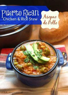 Puerto Rican Chicken and Rice Stew Recipe - Asopao de Pollo  |  whatscookingamerica.net  #puertorico #chicken #rice #stew #asopao #pollo #slowcooker