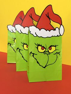 """Hosting a """"Grinch Grab"""" party of Christmas? Use our Grinch Bags to hold the gifts or use them for Grinch themed party favor bags. #grinch"""