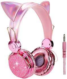 Kids Headphones Glitter Bear Ear Volume Limiting Adjustable Cute Anime Wired Headphones for Girls Boys School (Purple-Bear Ear) Accessoires Lps, Accessoires Iphone, Cute Headphones, Girl With Headphones, Kawaii Accessories, Girls Accessories, Girly Things, Cool Things To Buy, Stuff To Buy